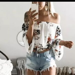 Tops - NEW! Chifon Floral off the Shoulder Blouse